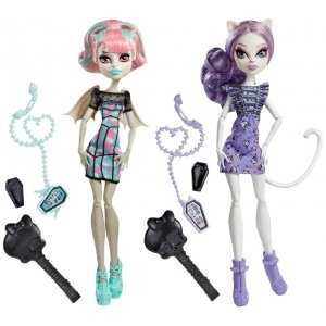 Сет из 2 кукол MONSTER HIGH Монстро-чат - Рошель и Кэтрин де Мяу